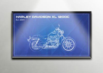 Harley Davidson Blue Print Poster